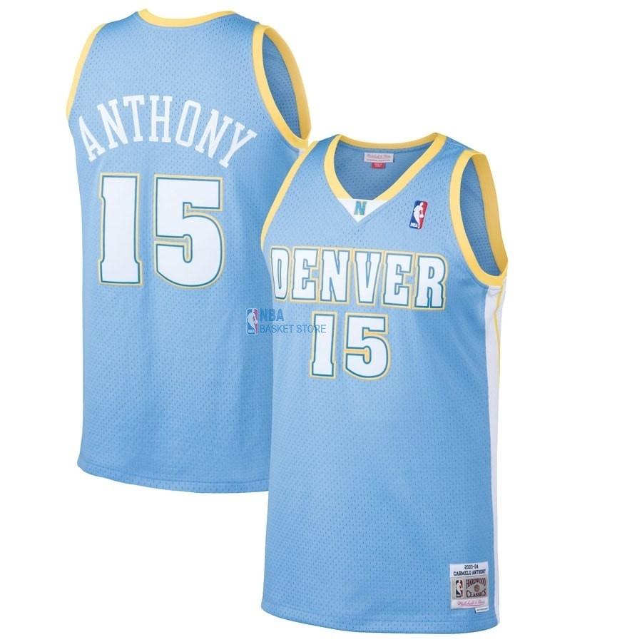 Achat Maillot NBA Denver Nuggets NO.15 Carmelo Anthony Bleu Hardwood Classics 2003-04