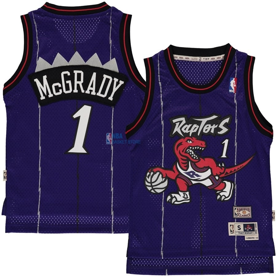 Achat Maillot NBA Enfant Toronto Raptors NO.1 Tracy McGrady Bleu Hardwood Classic