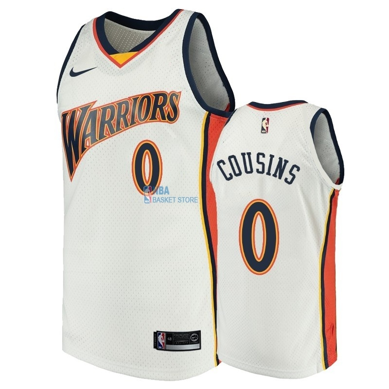 Achat Maillot NBA Golden State Warriors NO.0 DeMarcus Cousins Blanc Throwback