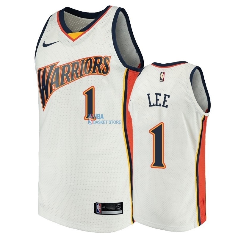 Achat Maillot NBA Golden State Warriors NO.1 Damion Lee Blanc Throwback