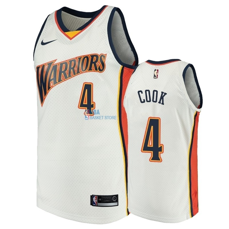Achat Maillot NBA Golden State Warriors NO.4 Quinn Cook Blanc Throwback