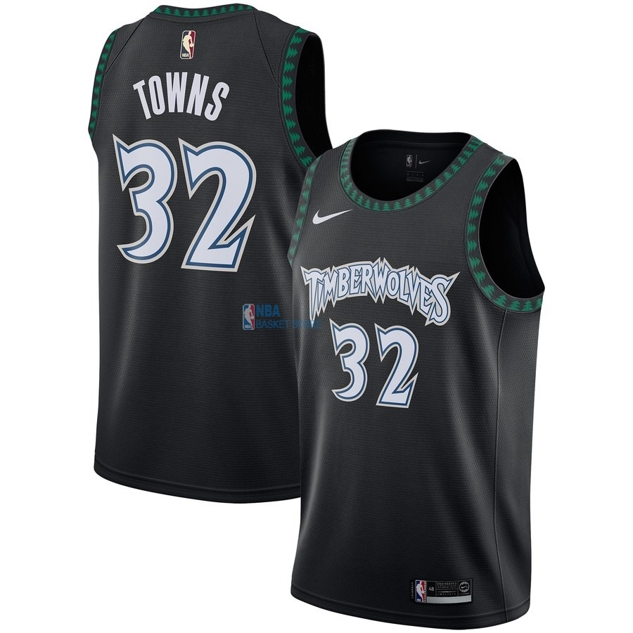 Achat Maillot NBA Minnesota Timberwolves NO.32 Karl Anthony Towns Noir Hardwood Classics