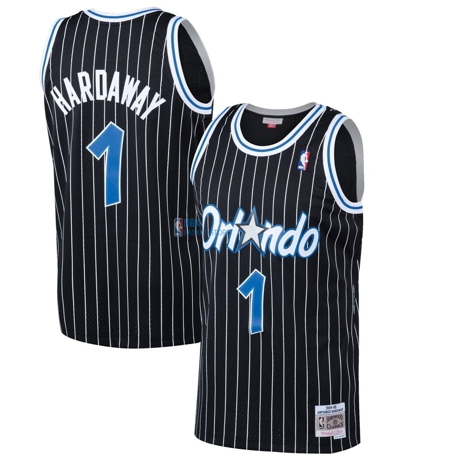 Achat Maillot NBA Orlando Magic NO.1 Penny Hardaway Noir Hardwood Classics 1994-95
