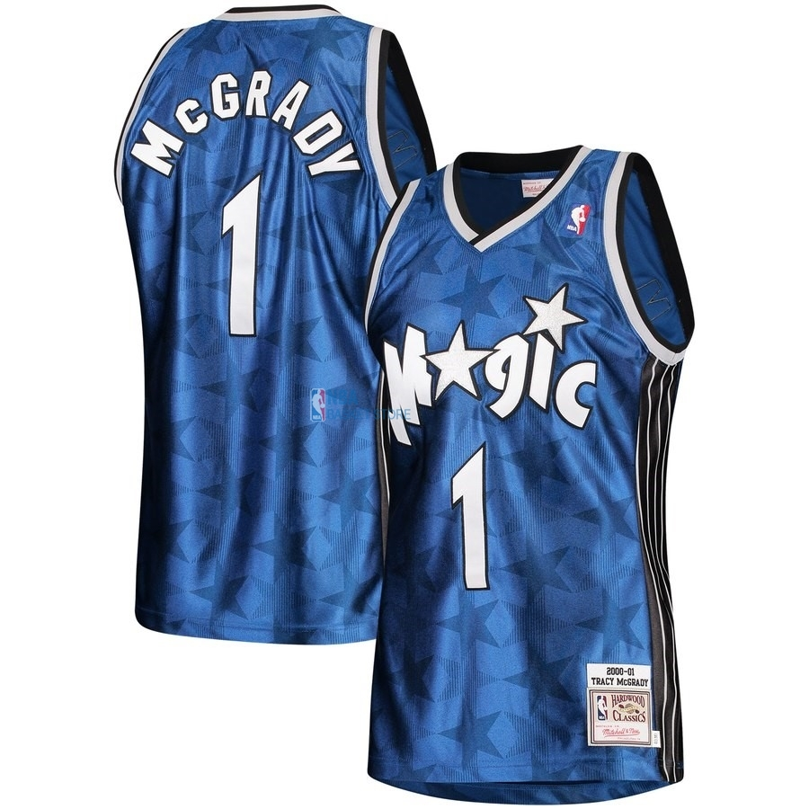 Achat Maillot NBA Orlando Magic NO.1 Tracy McGrady Bleu Hardwood Classics 2000-01