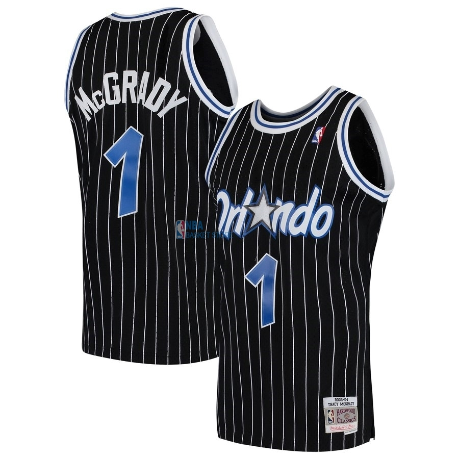 Achat Maillot NBA Orlando Magic NO.1 Tracy McGrady Noir Hardwood Classics 2003-04