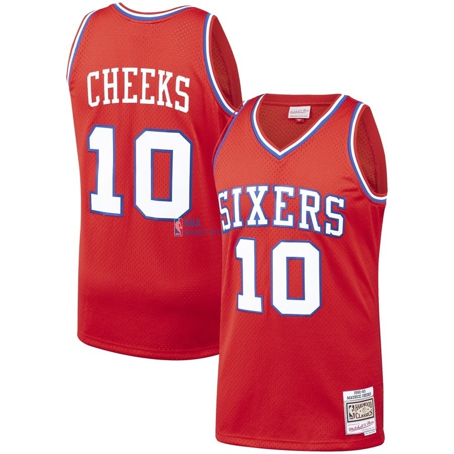 Achat Maillot NBA Philadelphia Sixers NO.10 Maurice Cheeks Rouge Hardwood Classics 1982-83