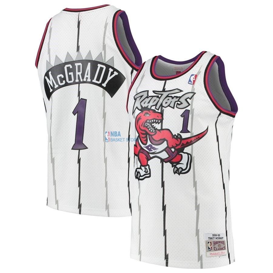 Achat Maillot NBA Toronto Raptors NO.1 Tracy McGrady Blanc Hardwood Classic 1998-99
