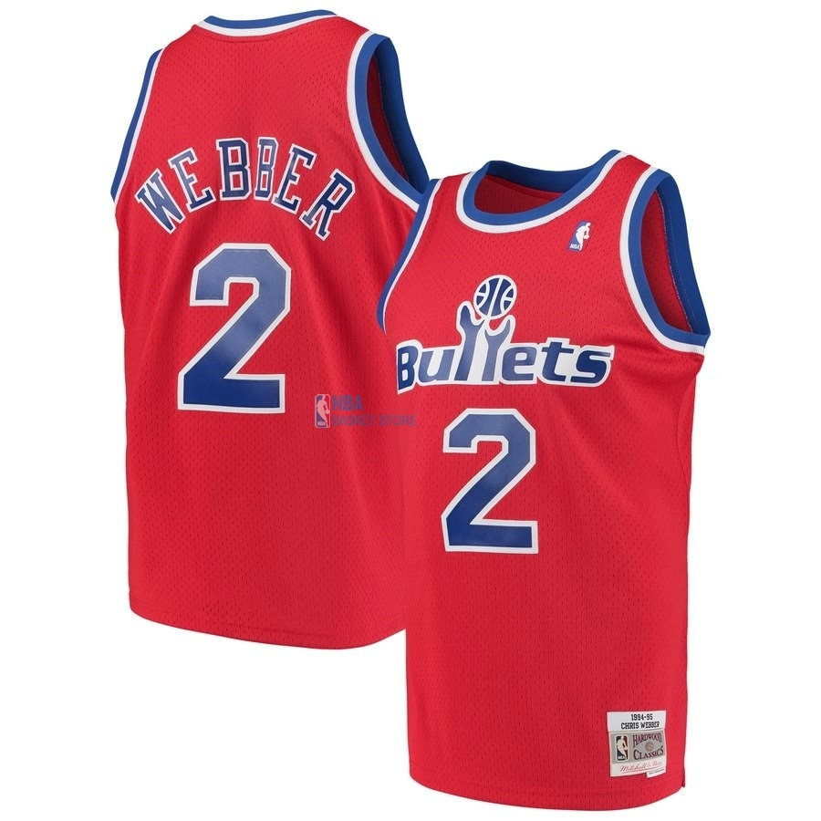 Achat Maillot NBA Washington Wizards NO.2 Chris Webber Rouge Hardwood Classics 1994-95
