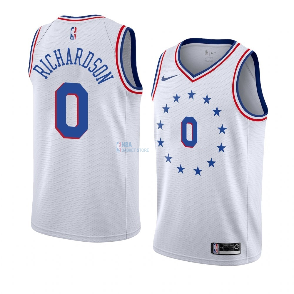 Achat Maillot Earned Edition Philadelphia Sixers NO.0 Josh Richardson Blanc 2019-20