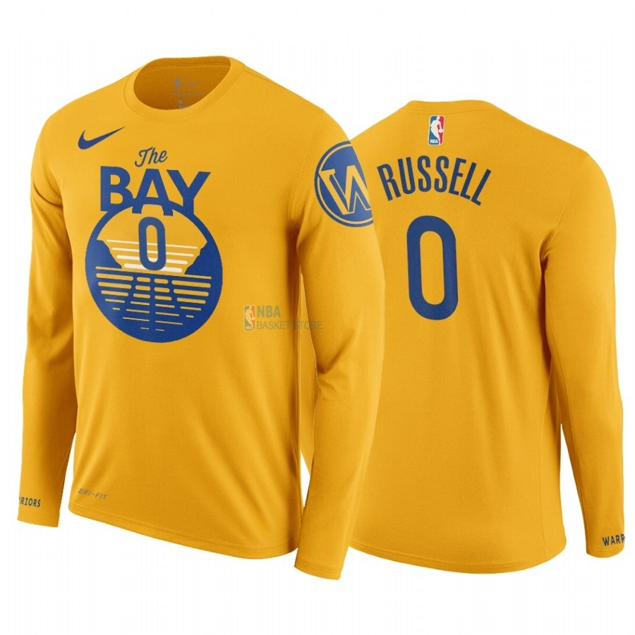 Achat T-Shirt NBA Golden State Warriors D'Angelo Russell Manga Larga Jaune