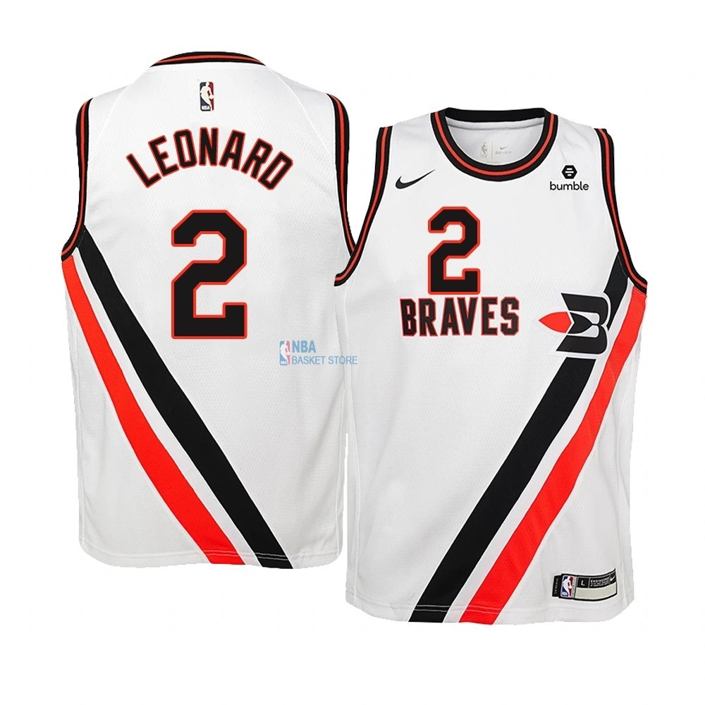 Achat Maillot NBA Enfant Earned Edition Los Angeles Clippers NO.2 Kawhi Leonard Blanc