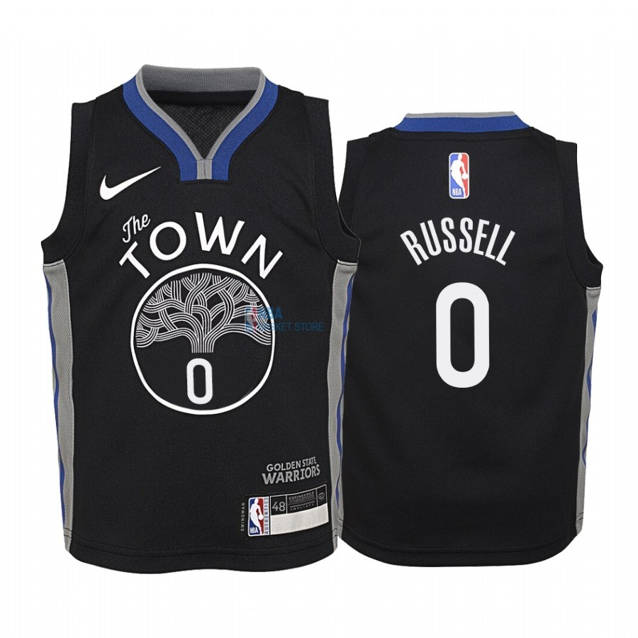 Achat Maillot NBA Enfant Golden State Warriors NO.0 D'Angelo Russell Nike Noir Ville 2019-20