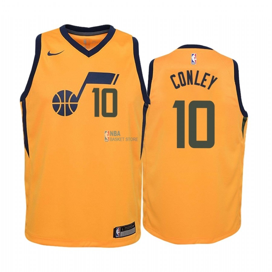 Achat Maillot NBA Enfant Utah Jazz NO.10 Mike Conley Jaune Statement 2019-20