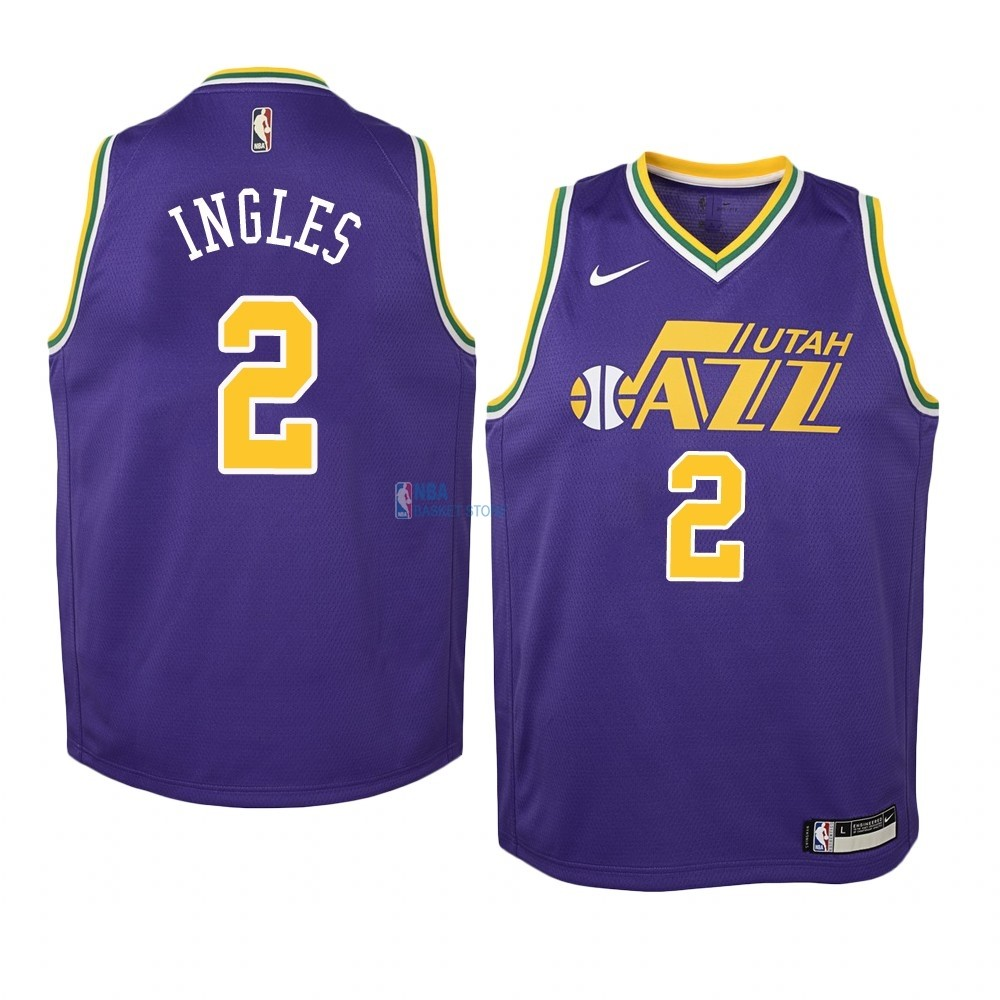 Achat Maillot NBA Enfant Utah Jazz NO.2 Joe Ingles Pourpre Hardwood Classics