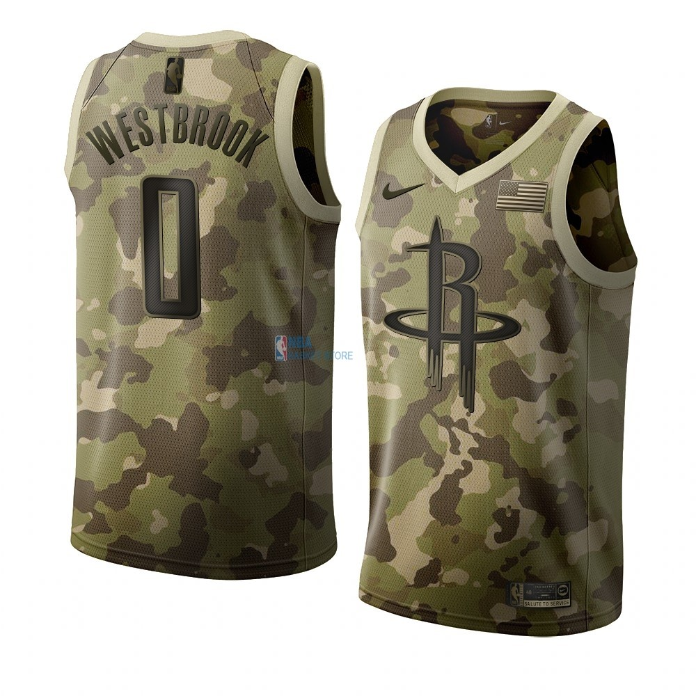 Achat Maillot NBA Nike Houston Rockets NO.0 Russell Westbrook Camouflage 2019