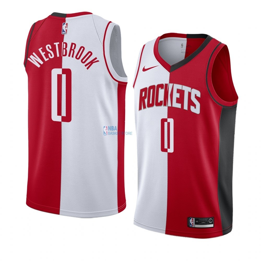 Achat Maillot NBA Nike Houston Rockets NO.0 Russell Westbrook Rouge Blanc Split Edition