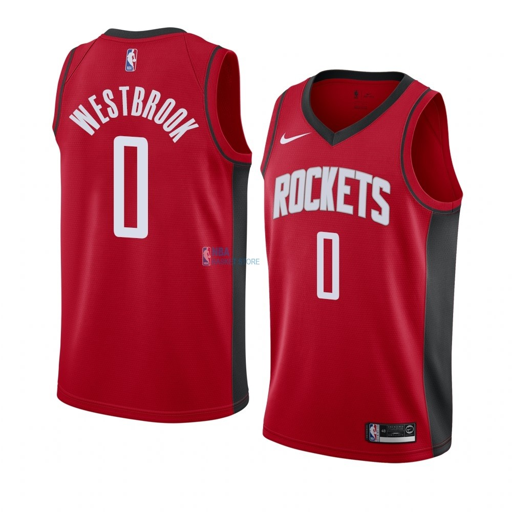 Achat Maillot NBA Nike Houston Rockets NO.0 Russell Westbrook Rouge Icon 2019-20
