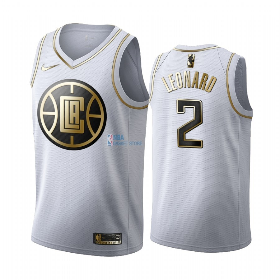 Achat Maillot NBA Nike Los Angeles Clippers NO.2 Kawhi Leonard Blanc Or 2019-20