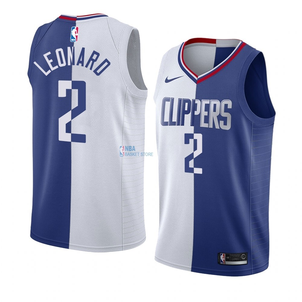 Achat Maillot NBA Nike Los Angeles Clippers NO.2 Kawhi Leonard Bleu Blanc Split Edition