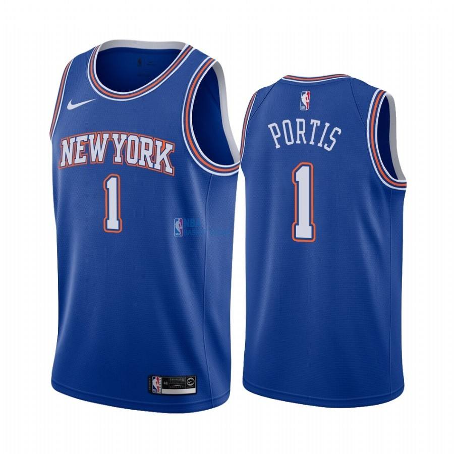 Achat Maillot NBA Nike New York Knicks NO.1 Bobby Portis Bleu Statement 2019-20