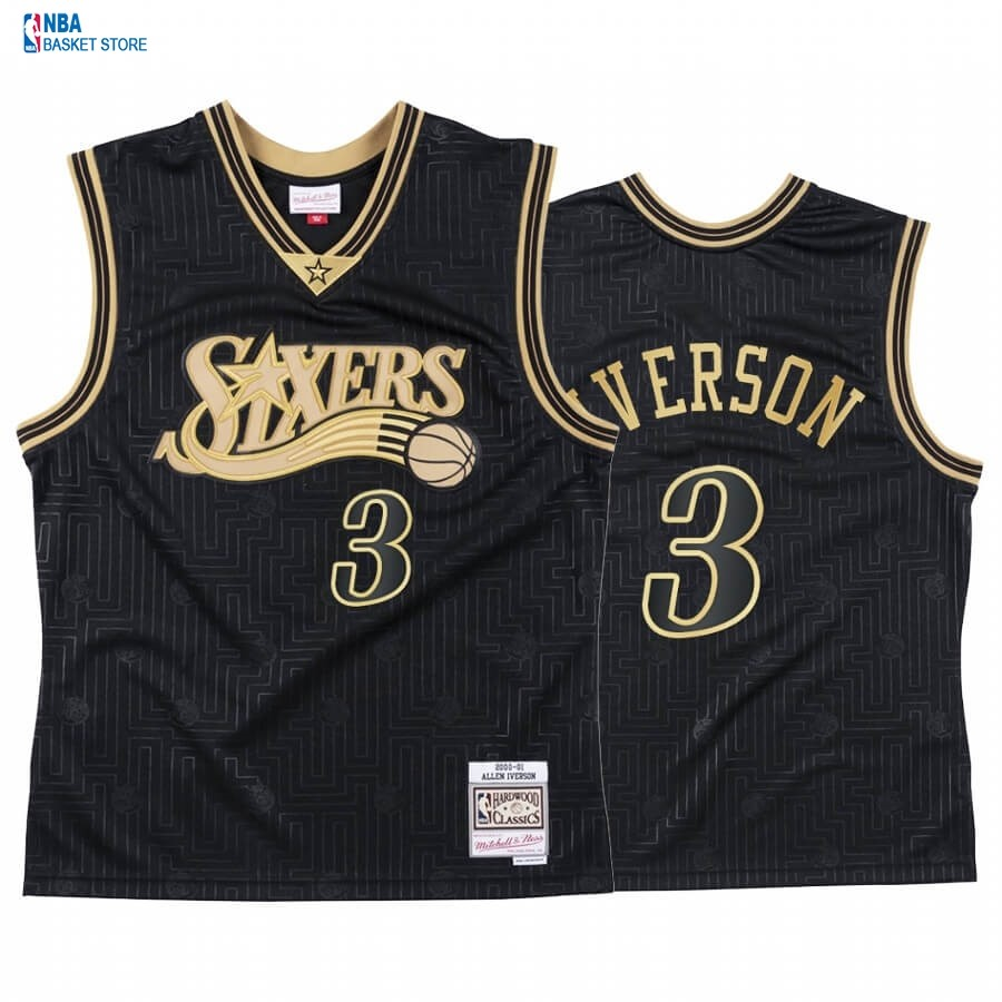 Achat Maillot NBA CNY Throwback Philadelphia 76ers NO.3 Allen Iverson Noir 2020