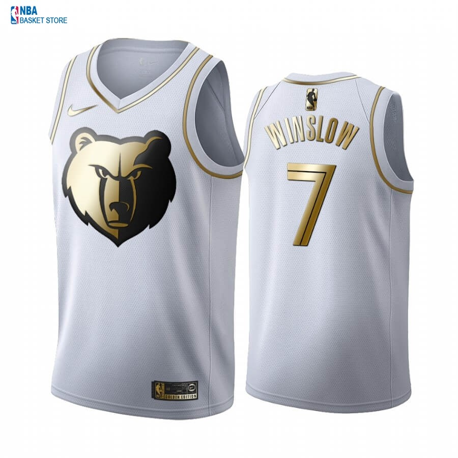 Achat Maillot NBA Nike Menphis Grizzlies NO.7 Justise Winslow Blanc Or 2019-20