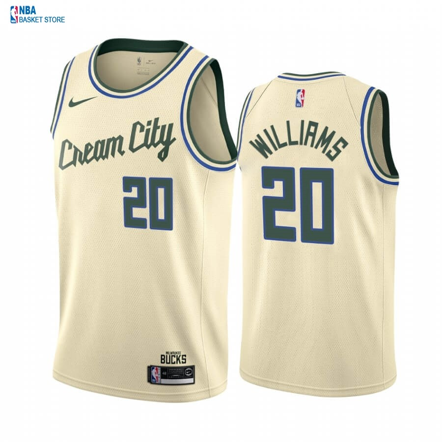 Achat Maillot NBA Nike Milwaukee Bucks NO.20 Marvin Williams Nike Crema Ville 2019-20