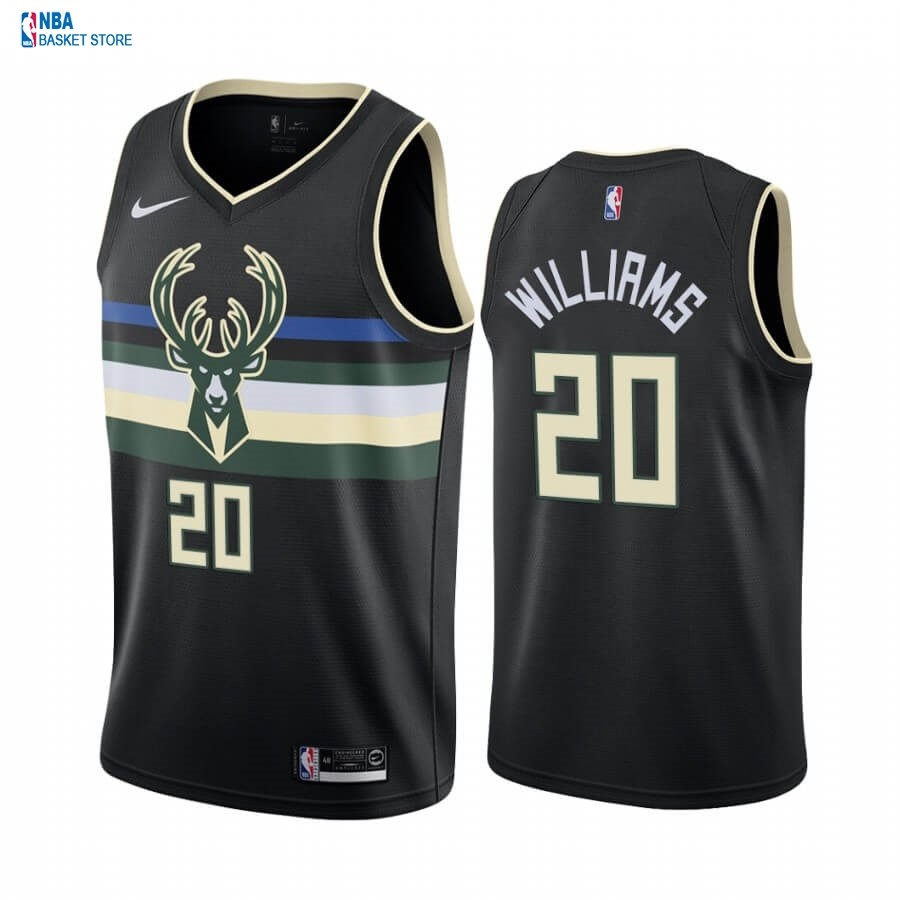Achat Maillot NBA Nike Milwaukee Bucks NO.20 Marvin Williams Noir Statement 2019-20