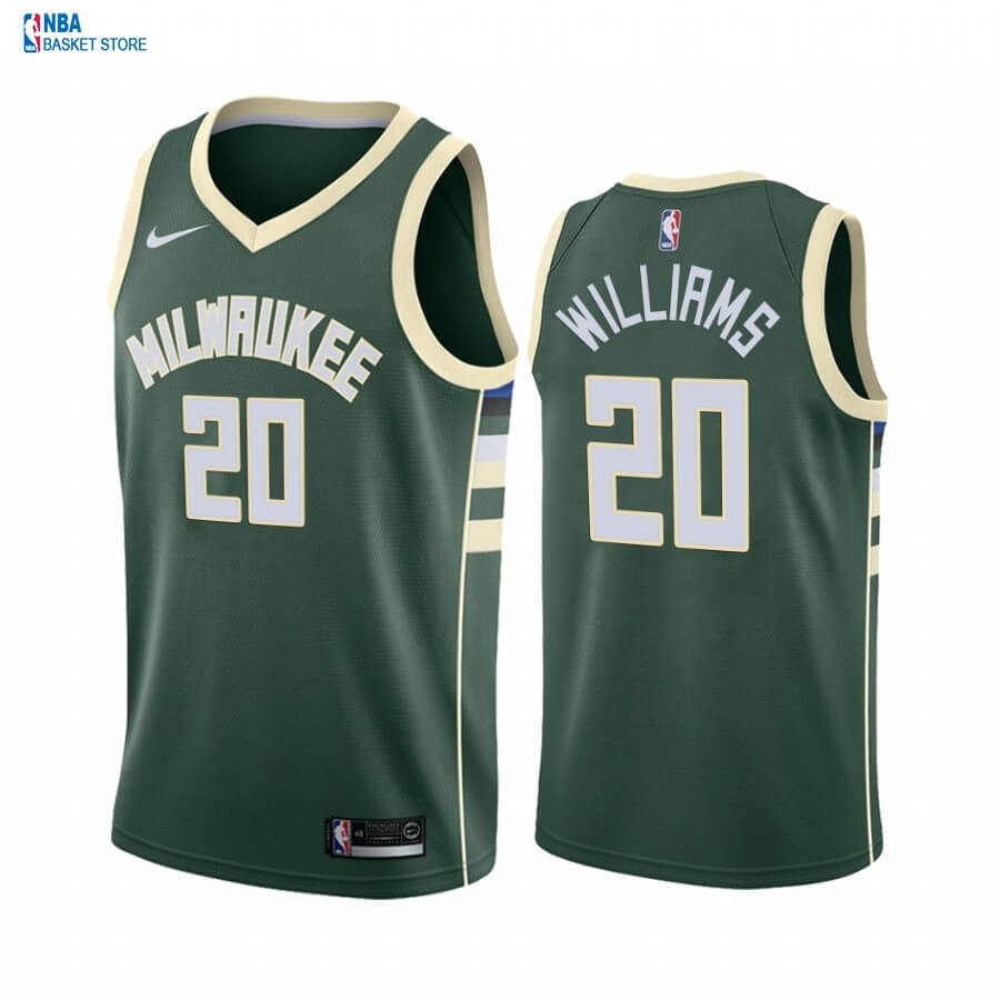 Achat Maillot NBA Nike Milwaukee Bucks NO.20 Marvin Williams Vert Icon 2019-20