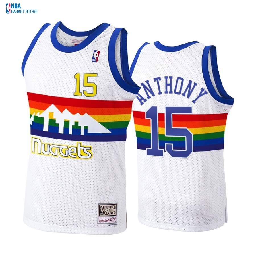 Achat Maillot NBA Denver Nuggets NO.15# Carmelo Anthony Blanc Hardwood Classics 1991-92