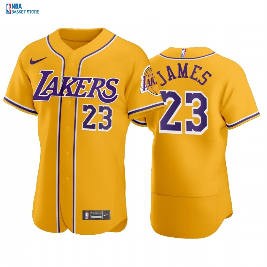 Achat Maillot NBA Lakers x MLB Manche courte NO.23# Lebron James Jaune 2020
