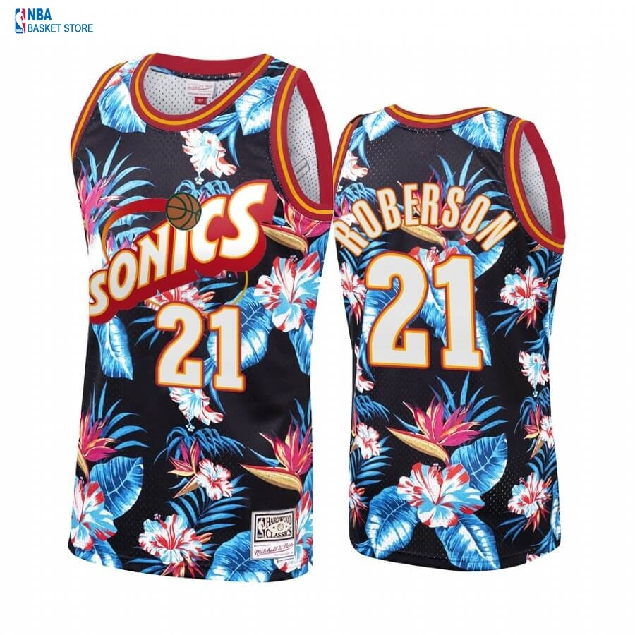 Achat Maillot NBA OKC Floral Fashion NO.21# Andre Roberson Noir Hardwood Classics