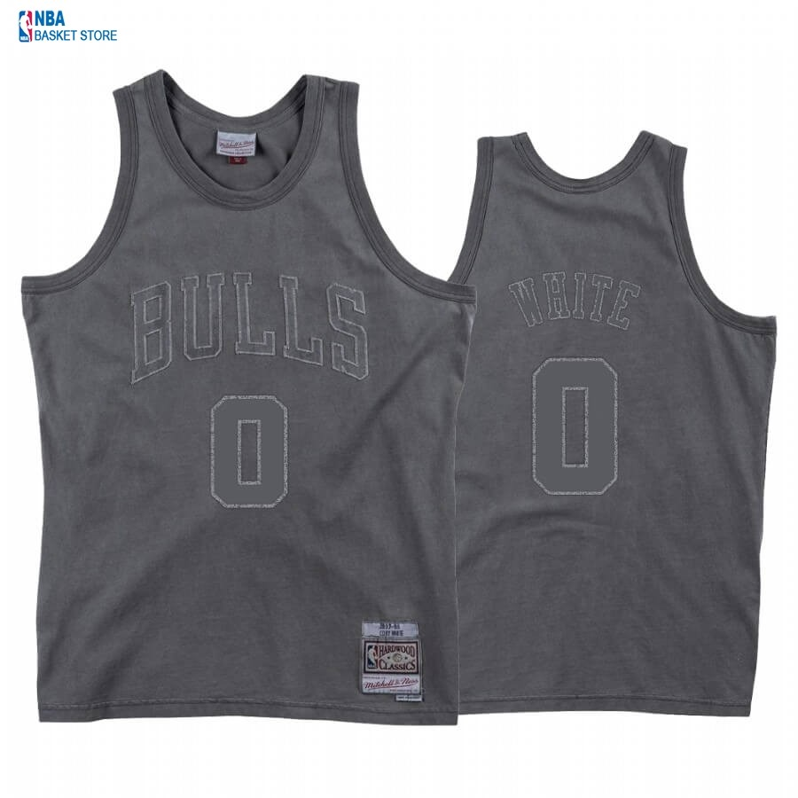 Achat Maillot NBA Chicago Bulls NO.0 Coby White Washed Out Gris Hardwood Classics 2020