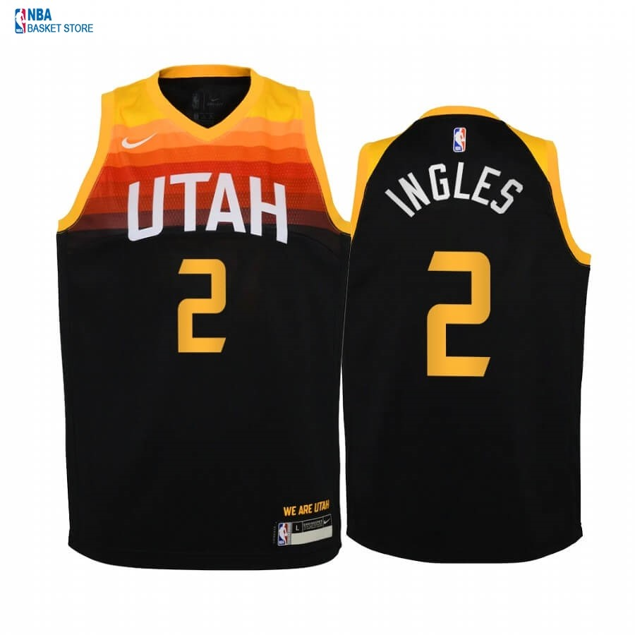 Achat Maillot NBA Enfant Utah Jazz NO.2 Joe Ingles Noir Ville 2020-21