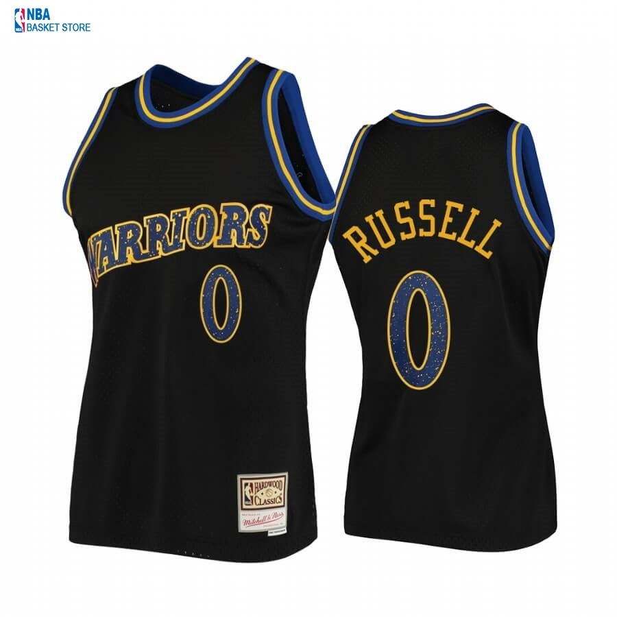 Achat Maillot NBA Golden State Warriors NO.0 D'Angelo Russell Rings Collection Noir Hardwood Classics