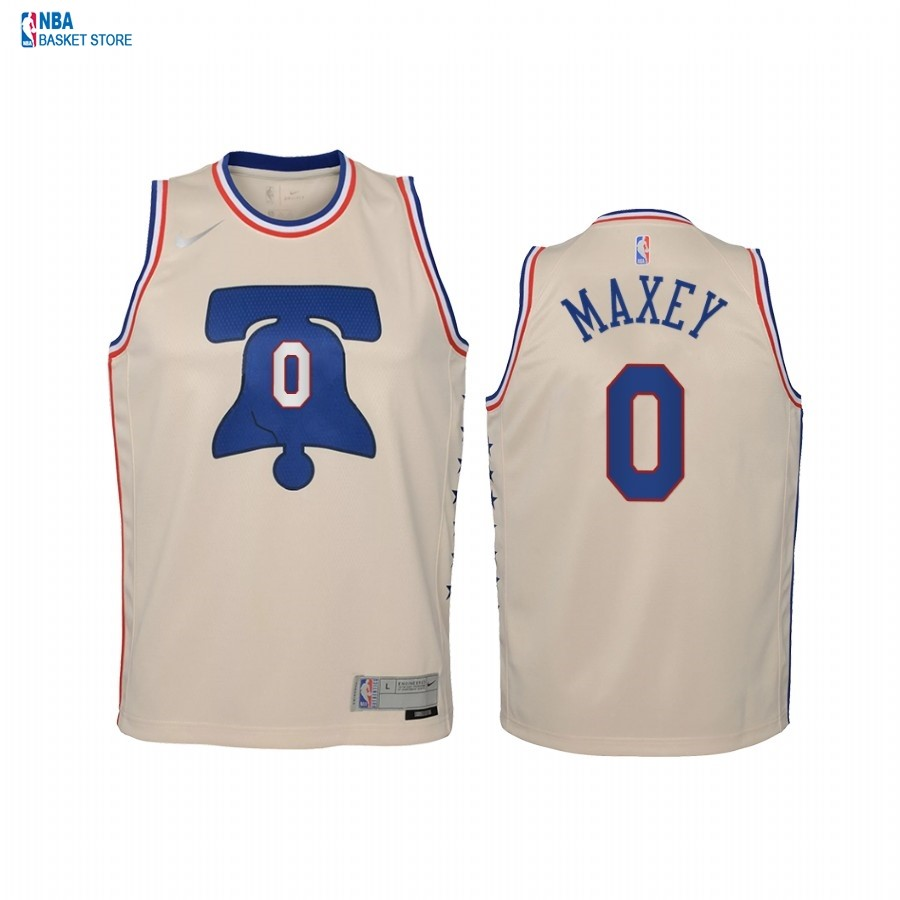 Achat Maillot NBA Enfant Earned Edition Philadelphia Sixers NO.0 Tyrese Maxey Crème 2021