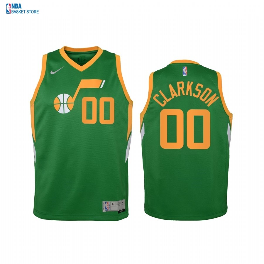 Achat Maillot NBA Enfant Earned Edition Utah Jazz NO.00 Jordan Clarkson Vert 2021