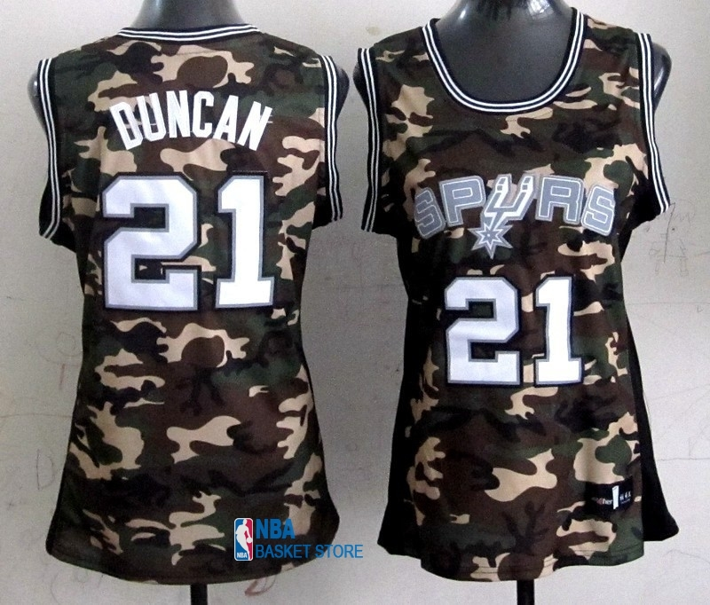Achat Maillot NBA Femme 2013 Camouflage Fashion NO.21 Tim Duncan