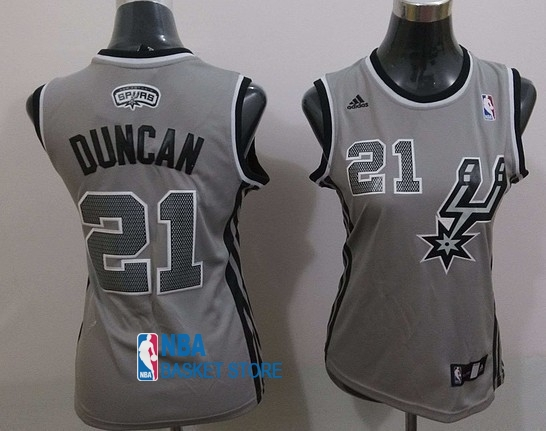 Achat Maillot NBA Femme 2013 Static Fashion NO.21 Tim Duncan Gris
