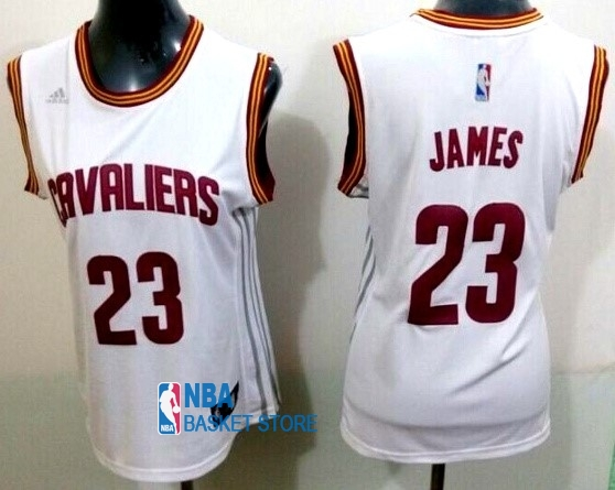 Achat Maillot NBA Femme Cleveland Cavaliers NO.23 LeBron James Blanc Bande