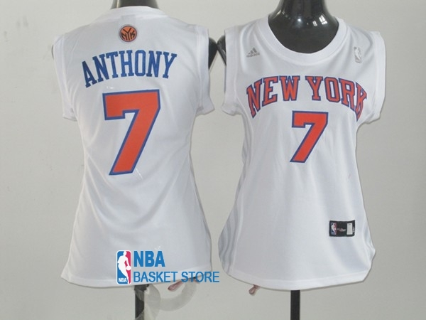 Achat Maillot NBA Femme New York Knicks NO.7 Carmelo Anthony Blanc Orange
