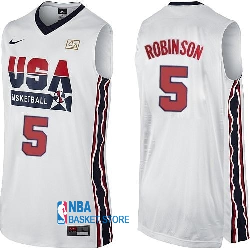 Achat Maillot NBA 1992 USA NO.5 David Robinson Blanc