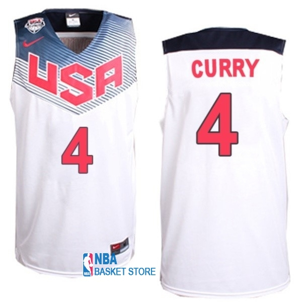 Achat Maillot NBA 2014 USA NO.4 Curry Blanc