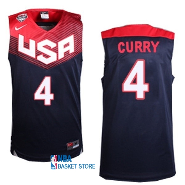 Achat Maillot NBA 2014 USA NO.4 Curry Noir