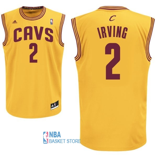 Achat Maillot NBA Cleveland Cavaliers NO.2 Kyrie Irving Jaune