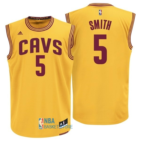 Achat Maillot NBA Cleveland Cavaliers NO.5 J.R.Smith Jaune