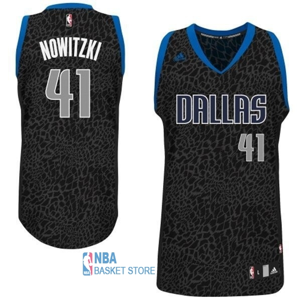 Achat Maillot NBA Dallas Mavericks Luz Léopard NO.41 Nowitzki Noir