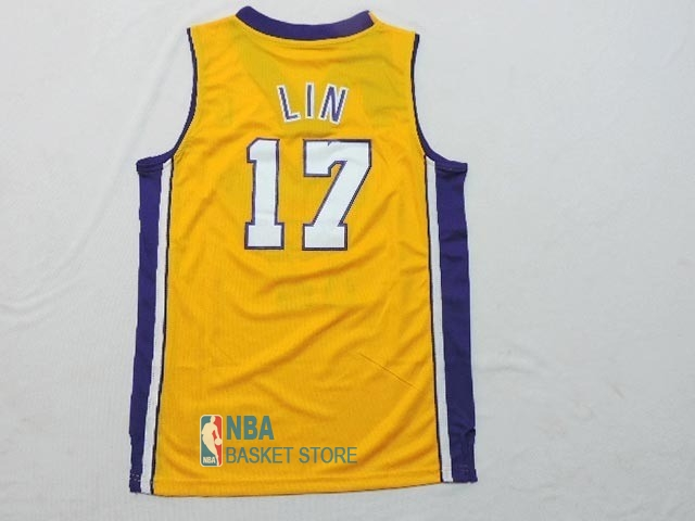 Achat Maillot NBA Enfant Los Angeles Lakers NO.17 Jeremy Lin Jaune