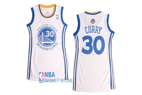 Achat Maillot NBA Femme Golden State Warriors NO.30 Stephen Curry Blanc