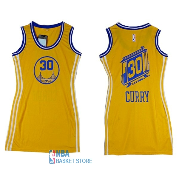 Achat Maillot NBA Femme Golden State Warriors NO.30 Stephen Curry Jaune